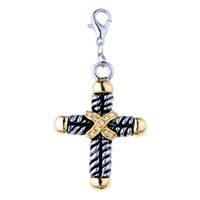 Italian Charms - golden tone cross clear crystal cz clasp dangle italian charms Image.