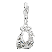 Sterling Silver Jewelry - 925  sterling clear bikini lobster clasp pendant dangle european beads fit all brands Image.