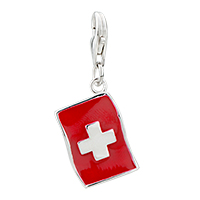 Sterling Silver Jewelry - 925  sterling sliver nurse red cross lobster clasp pendant charms for charm bracelet clasp charm Image.