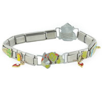 Italian Charms - 18  links dangling shrek assorted licensed italian charms bracelet shrek italian charm Image.