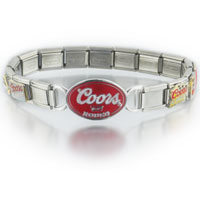 Italian Charms - 18  links mixed coors light beer licensed italian charms bracelet licensed charm bracelet Image.