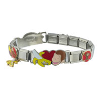 Italian Charms - animal studded curious george disney monkey italian charms bracelet licensed italian charm Image.