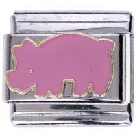Italian Charms - cute pink elephant animal charms italian charms Image.