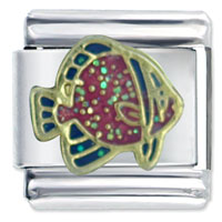 Italian Charms - purple spade fish italian charms Image.