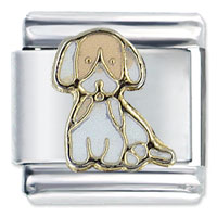 Italian Charms - sitting puppy dogs italian charm Image.