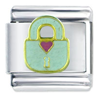 Italian Charms - love heart lock themed holiday italian charm bracelet Image.