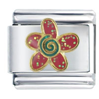Italian Charms - sparkling red flower italian charms Image.