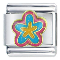 Italian Charms - pink blue flower italian charms Image.