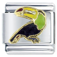 Italian Charms - black toucan bird spring fashion jewelry italian charm Image.