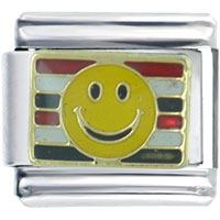 Italian Charms - patriotic happy face stripes travel &  flags italian charm Image.