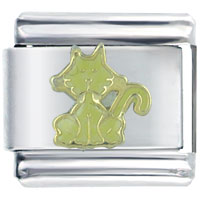 Italian Charms - sitting yellow cat italian charms Image.
