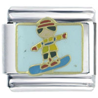 Italian Charms - christmas gifts snowman snow board boy italian charms Image.