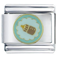 Italian Charms - brown baby bottle italian charm Image.