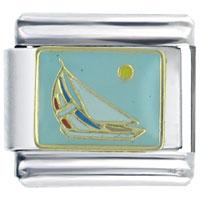 Italian Charms - golden italian charm bracelet sail boat seasonal jewelry Image.