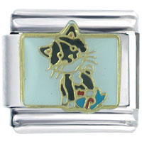 Italian Charms - cute black cat italian charms Image.