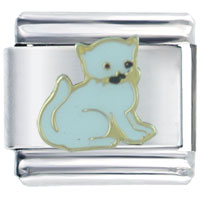 Italian Charms - playful white cat italian charms Image.