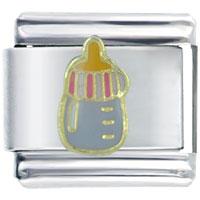 Italian Charms - golden italian charm bracelet purple baby bottle february jewelry Image.