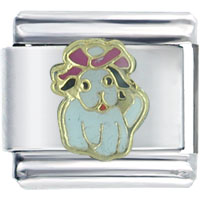 Italian Charms - white puppy gift italian charm Image.