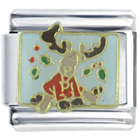 Italian Charms - christmas rudolph reindeer mistletoe christmas celebration italian charms Image.