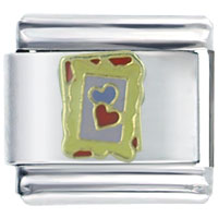 Italian Charms - framed hearts italian charm bracelet Image.