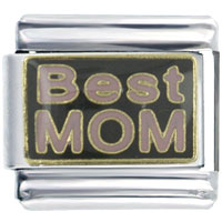 Italian Charms - enamel best mom celebration stainless steel italian charm link 9 mm Image.