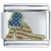 Italian Charms - golden italian charm bracelet usa flag girl silhouette Image.