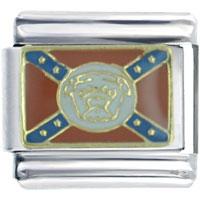 Italian Charms - golden italian charm bracelet confederate bull dog flag travel Image.