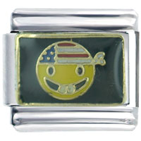 Italian Charms - patriotic happy face italian charms Image.