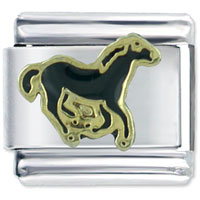 Italian Charms - black stallion horse spring italian charms Image.
