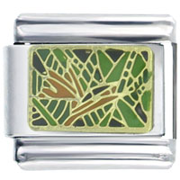 Italian Charms - green stained glass window italian charms Image.