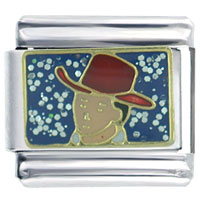 Italian Charms - cowboy in red hat seasonal jewelry italian charm Image.