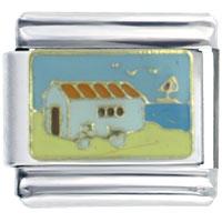 Italian Charms - golden italian charm bracelet beach house Image.