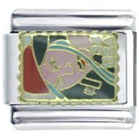 Italian Charms - elegant girl stamp gift italian charm Image.