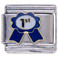 Italian Charms - blue 1 st honor badge insect italian charms Image.