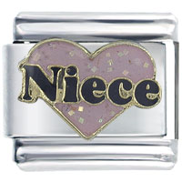 Italian Charms - fashion glitter pink niece heart words enamel 9 mm italian charm Image.