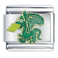 Italian Charms - golden italian charm bracelet green fire breathing dragon autumn fashion jewelry Image.