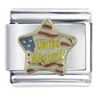 Italian Charms - enamel united we stand star stainless steel italian charm link 9 mm Image.