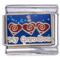 Italian Charms - hot my grandson heart love family charm italian charms Image.
