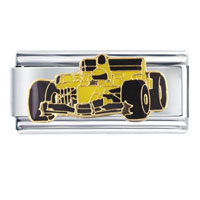 Italian Charms - race car yellow vehicle stainless steel base italian charm link 9 mm Image.