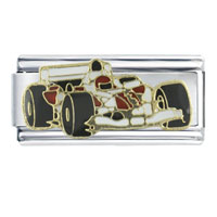 Italian Charms - enamel formula 1  race car stainless steel base italian charm 9 mm Image.