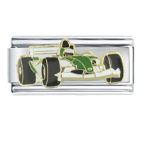 Italian Charms - enamel formula 1  green race car vehicle charm italian charm link 9 mm Image.