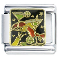 Italian Charms - enamel martini food stainless steel base italian charm link 9 mm Image.