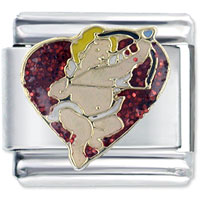 Italian Charms - enamel cupid heart fairy stainless steel base italian charm link 9 mm Image.