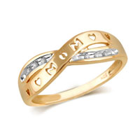 Rings - diamond accent split shank mom band in sterling silver and 10 k gold plate size 8   ring Image.