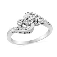Rings - mothers rings diamond accent triple cluster mom ring in sterling silver size  8 Image.