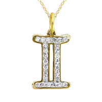 Necklace & Pendants - diamond accent gemini disc pendant in 925  sterling silver with 10 k gold plate zodiac pendant Image.