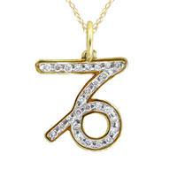 Necklace & Pendants - diamond accent capricorn charm pendant in 925  sterling silver with gold plate zodiac pendant Image.