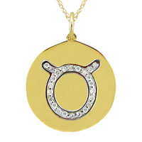 Necklace & Pendants - diamond accent taurus charm pendant in 925  sterling silver with gold plate zodiac pendant Image.