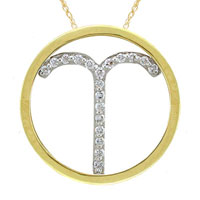 Necklace & Pendants - aries pendant necklace diamond accent in 925  sterling silver with gold plate zodiac pendant Image.