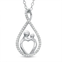 Sterling Silver - 1/7  ct.  t. w.  diamond infinity pear shaped motherly love pendant necklace in sterling silver sterling silver pendant Image.